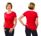 Woman in her forties wearing blank red shirt — Stock Photo