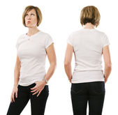 Woman in her forties posing with blank white shirt — Stock Photo