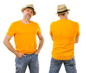 Man in his forties wearing blank orange shirt — Stock Photo