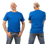Man in his forties wearing blank blue shirt — Stock Photo