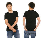 Young black male with blank black shirt — Stock Photo