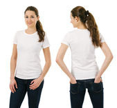 Young smiling woman wearing blank white shirt — Stock Photo
