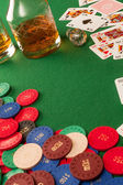 Gambling table and poker chips — Stock Photo