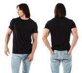 Man wearing blank black shirt — Stock Photo