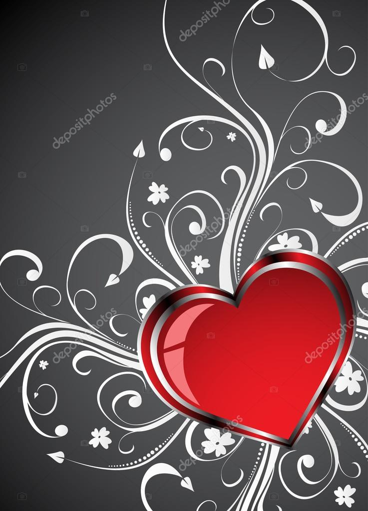 Valentines Day grunge background with Hearts. Clip-art — Stock Vector #18687705
