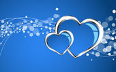 Beautiful blue heart background — Stok Vektör