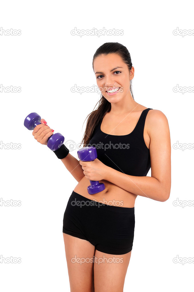 Isolated young fitness woman with dumbbell — Stock Photo #13548378