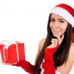 孤立的圣诞女孩 — 图库照片