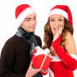 Isolated young christmas couple — Stock Photo #16280355