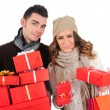 Isolated young christmas couple — Stock Photo
