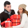 Stock Photo: Isolated young christmas couple