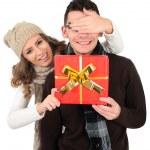 Isolated young christmas couple — Stock Photo