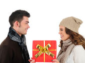 Isolated young christmas couple — Stockfoto