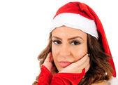 Geïsoleerde jongedame Kerstmis — Stockfoto