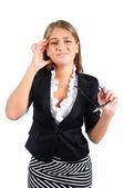 孤立的业务的女人 — 图库照片