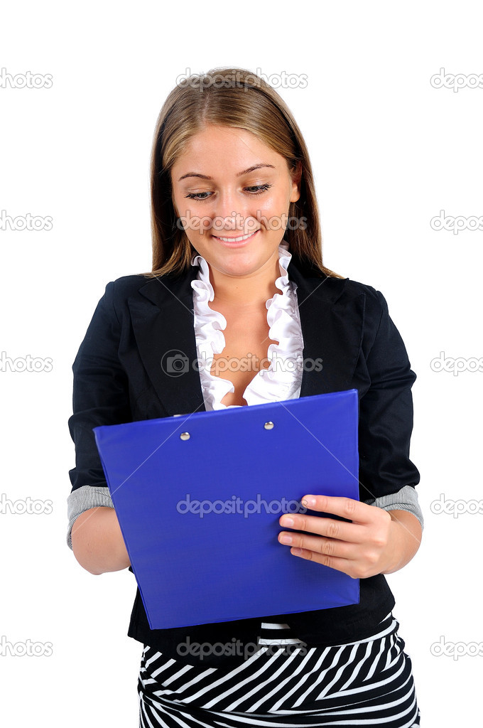 Isolated young business woman writing — Stock Photo #17394789