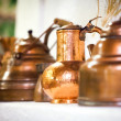Copper pots inside a traditional house — Stock Photo