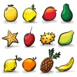Exotic fruits sketch drawing vector set — Stock Vector