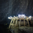 Underground wood structures in Turda Salt Mine — Stock Photo