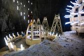 Underground wood structures in Turda Salt Mine — Stock Photo