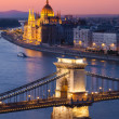 Budapest cityscape sunset with Chain Bridge in front and Parliament Building in background — Stock Photo #30024589