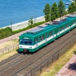 Stock Photo: Green suburb train in Budapest