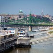 Cruise ships docked on Danube river shore in Budapest — Stock Photo
