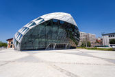 CET Budapest modern whale shaped building on the bank of Danube — Stock Photo