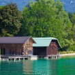 Wolfgang See lake traditional boathouses — Stock Photo #38027241