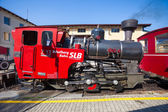 Steam locomotive of a vintage cogwheel railway going to Schafber — Stock Photo