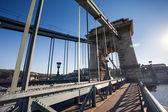 Chain Bridge over Danube river, Budapest cityscape — Stock Photo