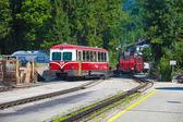 Diesel locomotive of a vintage cogwheel railway going to Schafbe — Stock Photo