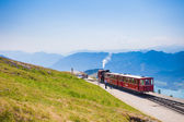 Diesel train railway carriage going to Schafberg Peak  — Stock Photo