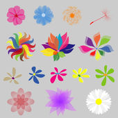 Collection Mod Style Vector Flowers — Stock Vector