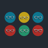 Vector black glasses icons set on white background — Stock Vector