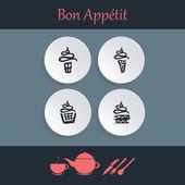Vector cupcake icons — Vettoriale Stock