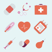 Decorative medical emergency first aid kit symbols — Stock Vector