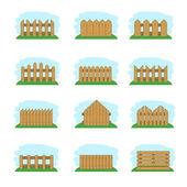 Wooden fences, vector illustration — Stock Vector