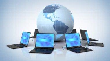 Wereldwijde netwerk, 3d animatie — Stockvideo