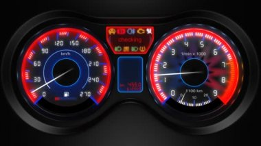 Car dashboard, 3d animation, with sound — Stock Video