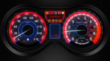 Car dashboard, 3d animation, with sound — Video Stock
