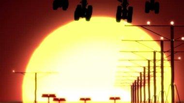 Airplane landing at sunset — Stock Video