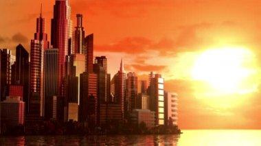 City at sunrise — Stock Video