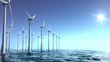Wind turbines farm in the sea — Stock Video