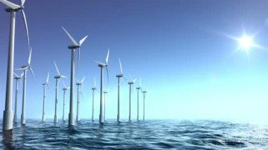 Wind turbines farm in the sea — Stock Video