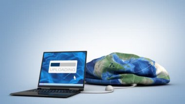 Laptop uploading the world — Stock Video