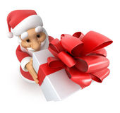 Santa Claus with a gift, top view fish-eye, — Stock Photo