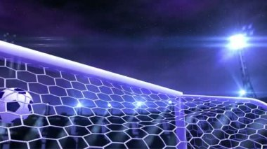 Football is slowly flying in the goal against night sky background, 3d animation — Stock Video
