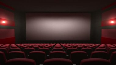Movie theatre with a green screen, 3d animation — Stock Video