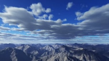 Flying through the clouds and the mountains, 3d animation — Stock Video